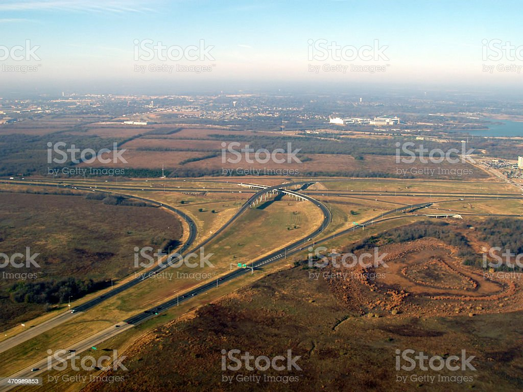 Dallas Highways & Byways - aerial view royalty-free stock photo