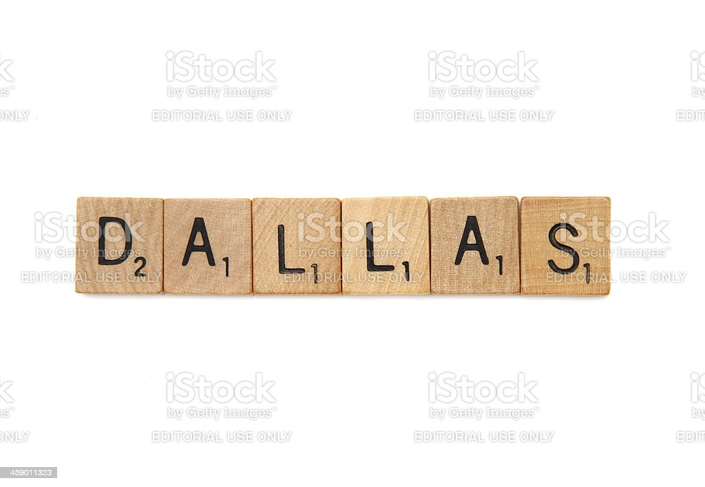 Dallas in Scrabble letter tiles royalty-free stock photo
