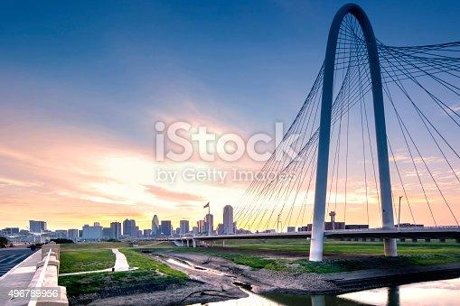 Photo of Dallas skyline in the morning. Sunrise moment. Dusk.