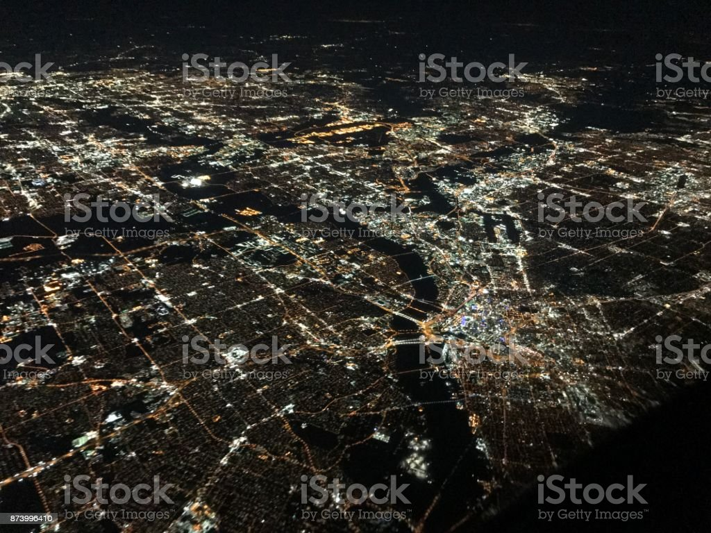 Dallas Night Dallas Texas flyover at night Aerial View Stock Photo