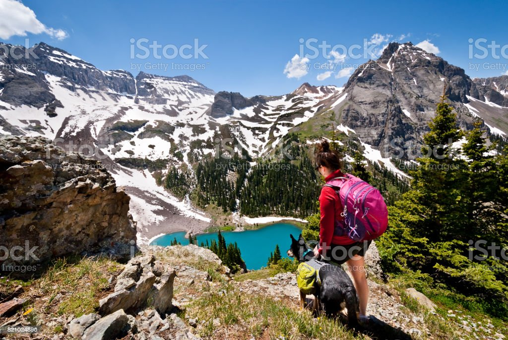 Young Woman Hiker and Dog stock photo
