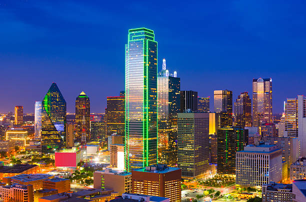 Dallas skyline aerial at dusk stock photo