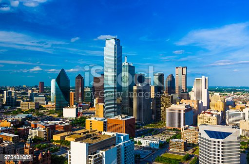 Downtown Dallas skyline aerial view, wide angle with a blue sky with a nice cloudscape.