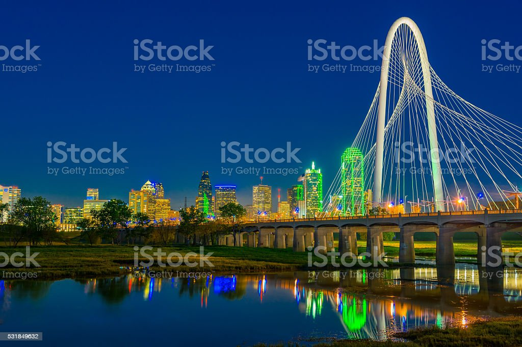 Dallas skyline at dusk, TX stock photo