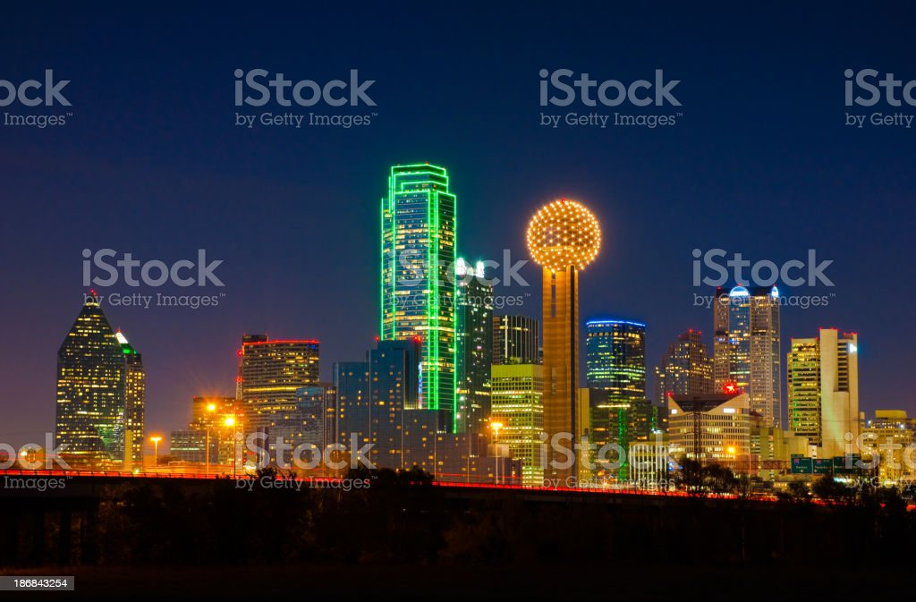 Dallas skyline at night stock photo