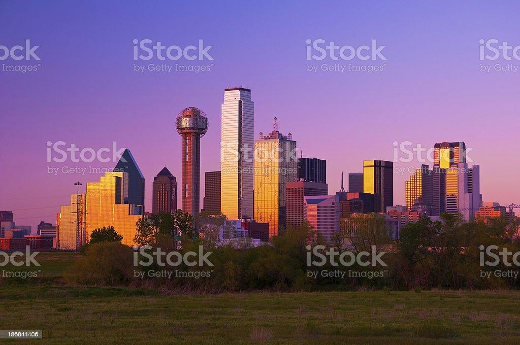 Dallas skyline at sunset / dusk royalty-free stock photo
