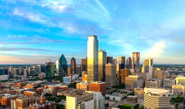 Dallas skyline at twilight 2019 stock photo