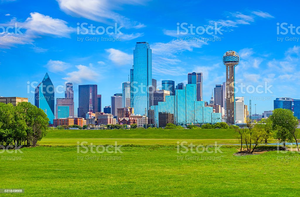 Dallas skyline cityscape with spring foliage,TX stock photo