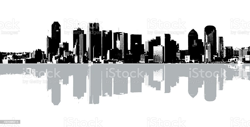 black and white skyline of dallas texas with reflecting gray skyline...