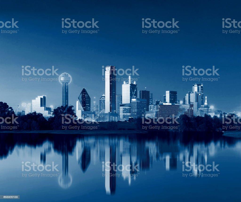 Dallas Skyline Reflection at Dawn, Downtown Dallas, Texas, USA stock photo