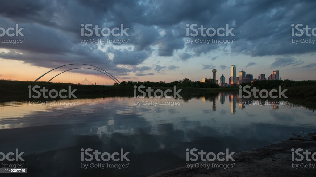 This is the picture of Dallas skyline and its refection on Trinity...