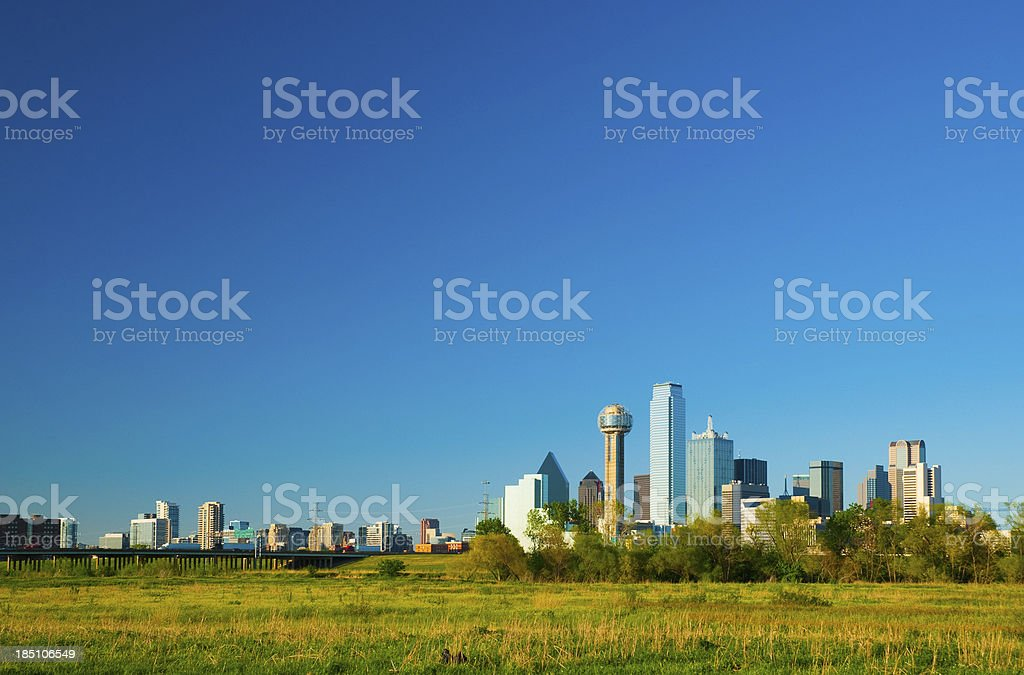 Dallas skyline wide angle stock photo