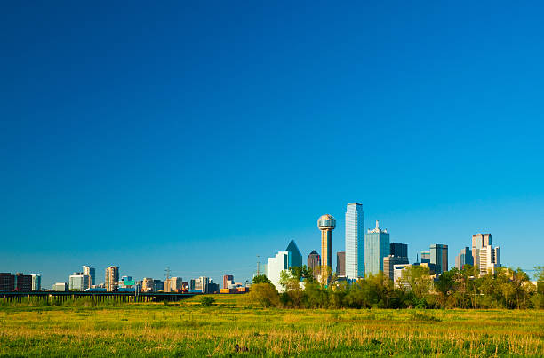 Dallas skyline wide angle stock photo