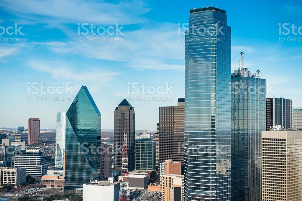 Dallas skyline with Reunion tower stock photo