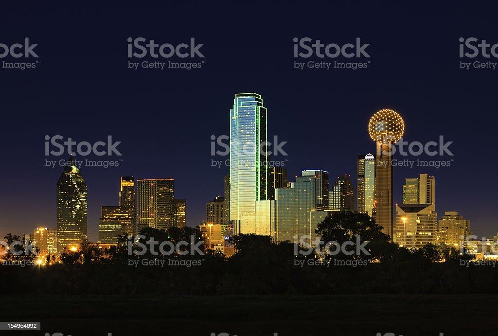 Dallas Texas city skyline panorama cityscape at night stock photo