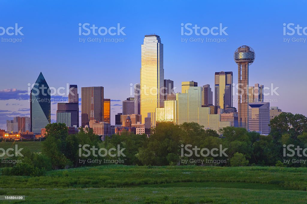 Dallas Texas city skyline panorama cityscape late afternoon stock photo
