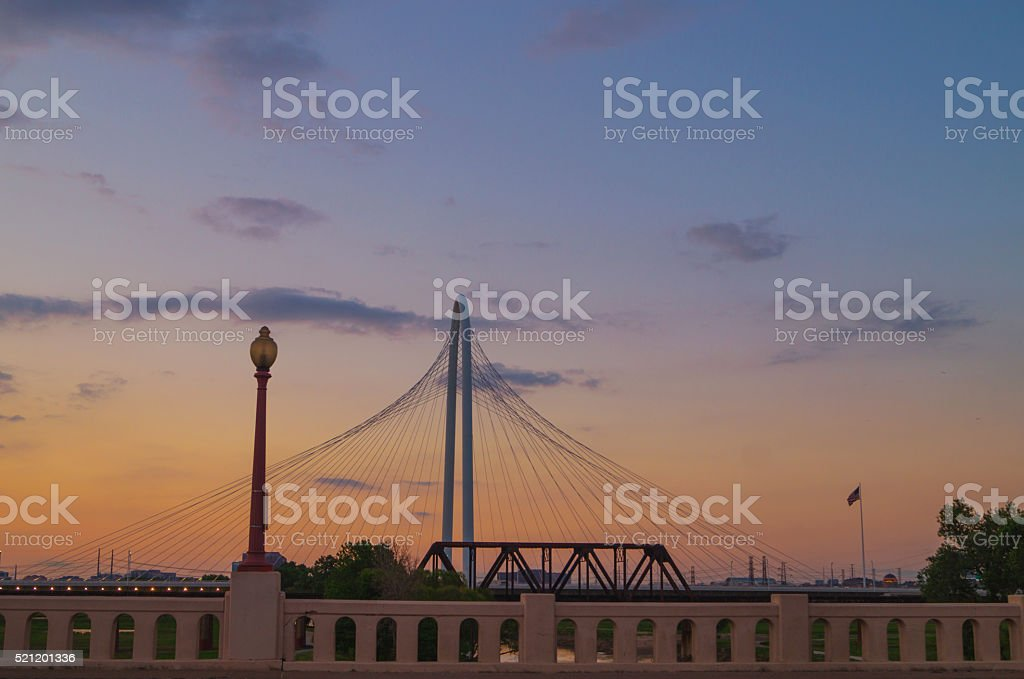 Dallas Texas downtown bridges at sunset royalty-free stock photo