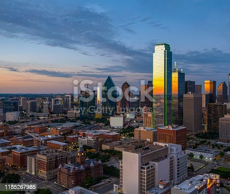 Dallas evening skyline panorama aerial shot