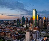 Dallas evening skyline panorama aerial shot