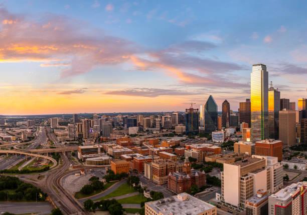 Dallas Texas evening skyline stock photo