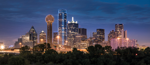 Dallas downtown cityscape panorama in Texas USA