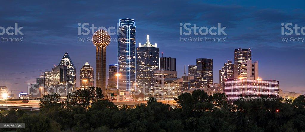 Dallas Texas Skyline and Reunion Tower panoramic stock photo