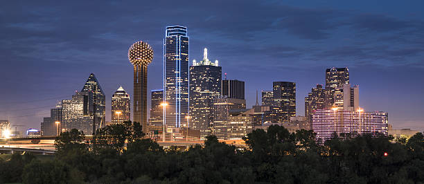 Dallas Texas Skyline and Reunion Tower panoramic stock photo