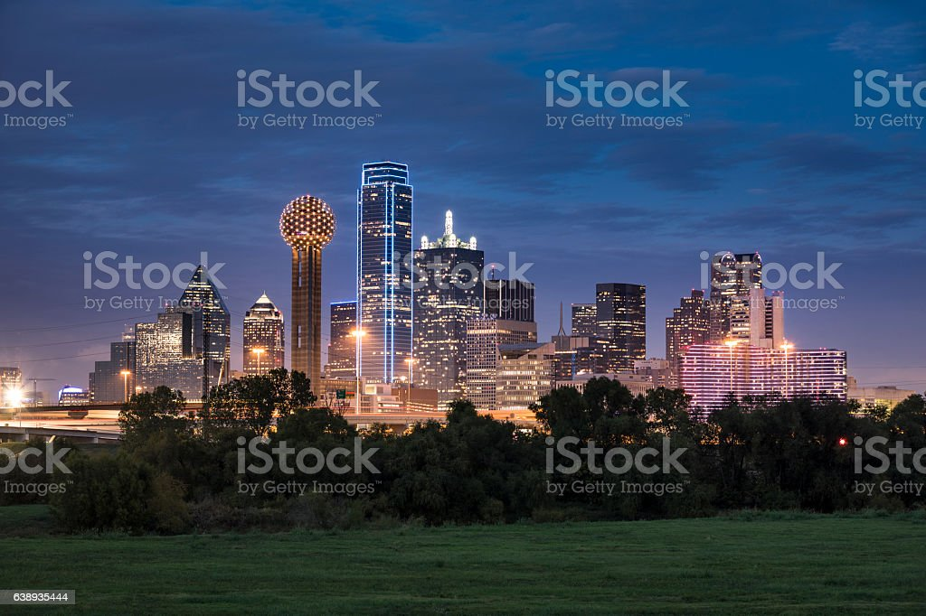 Dallas Texas Skyline and Reunion Tower stock photo