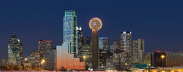 Dallas Texas Skyline at Night stock photo