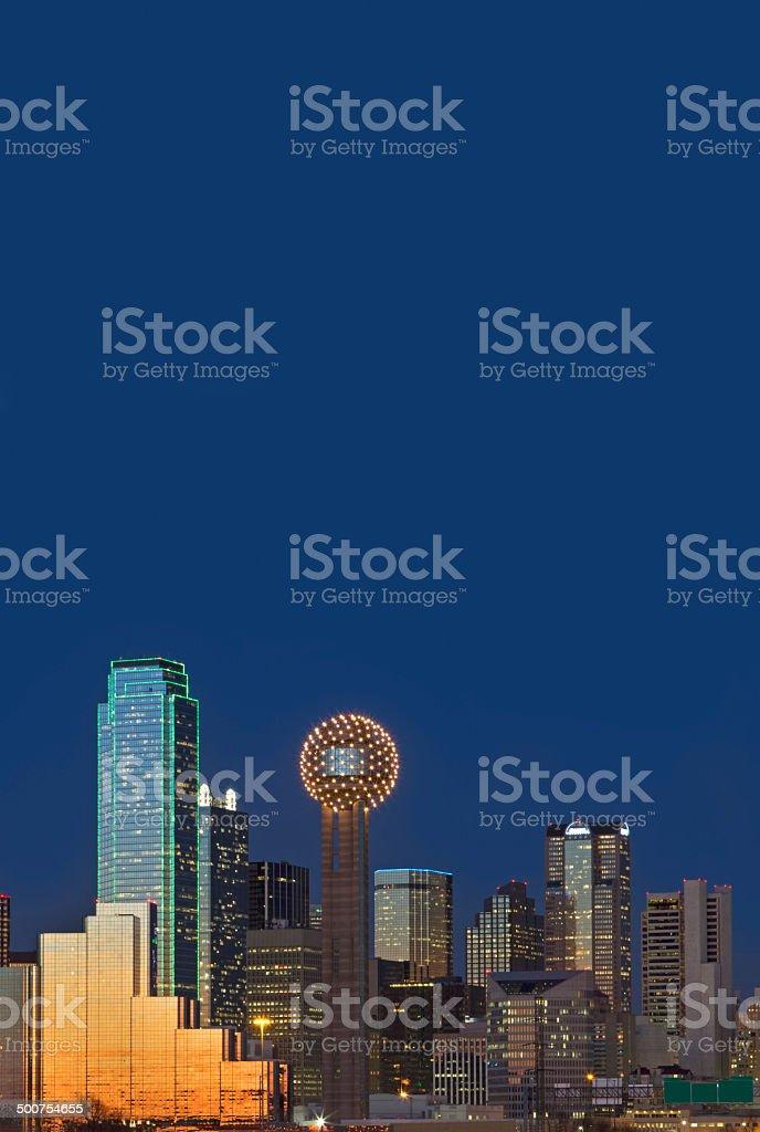Dallas Texas Skyline at Night stock photo