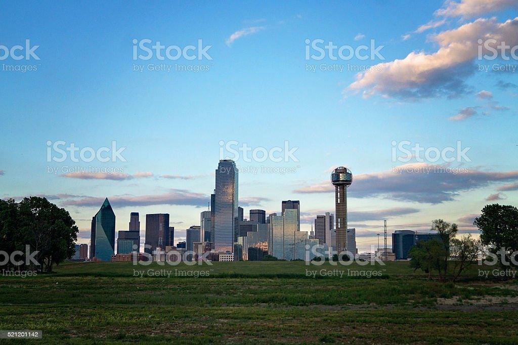 Dallas, Texas skyline from the south side through sunset stock photo