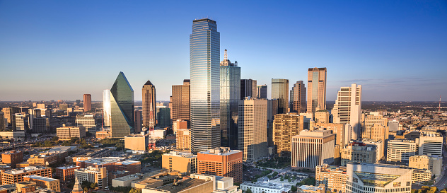 Dallas downtown panoramic cityscape in Texas USA