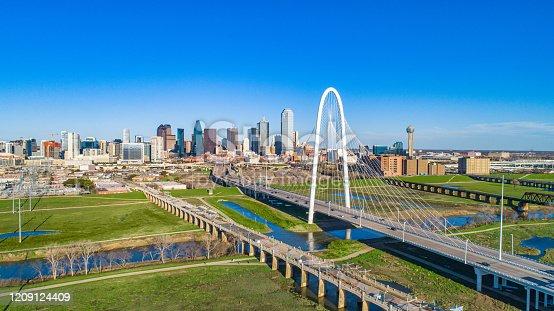 Dallas, Texas, USA Drone Skyline Aerial.