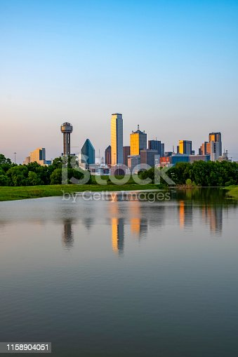 Dallas with flooded Trinity river in the evening hour