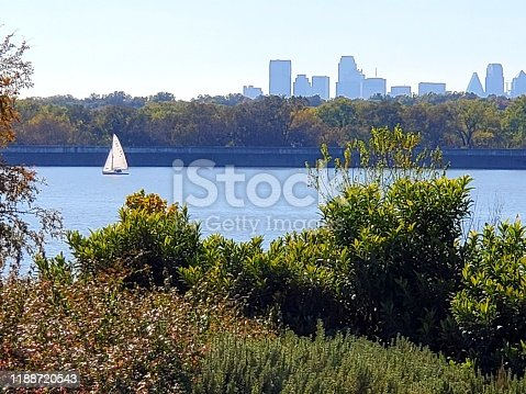 Sailboat with Dallas Skyline in Background