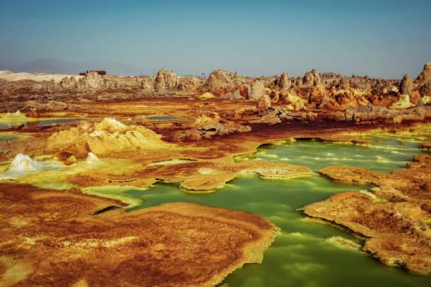 Dallol, Danakil Depression, Ethiopia. The hottest place on earth. stock photo