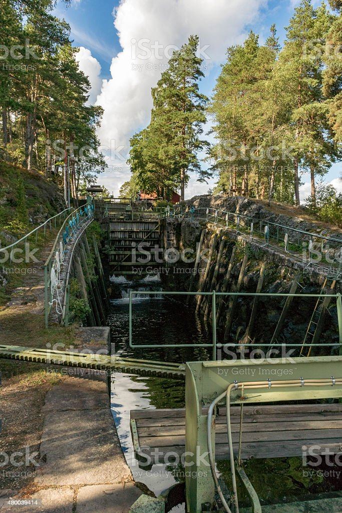 Dalsland Canal locks in Sweden stock photo