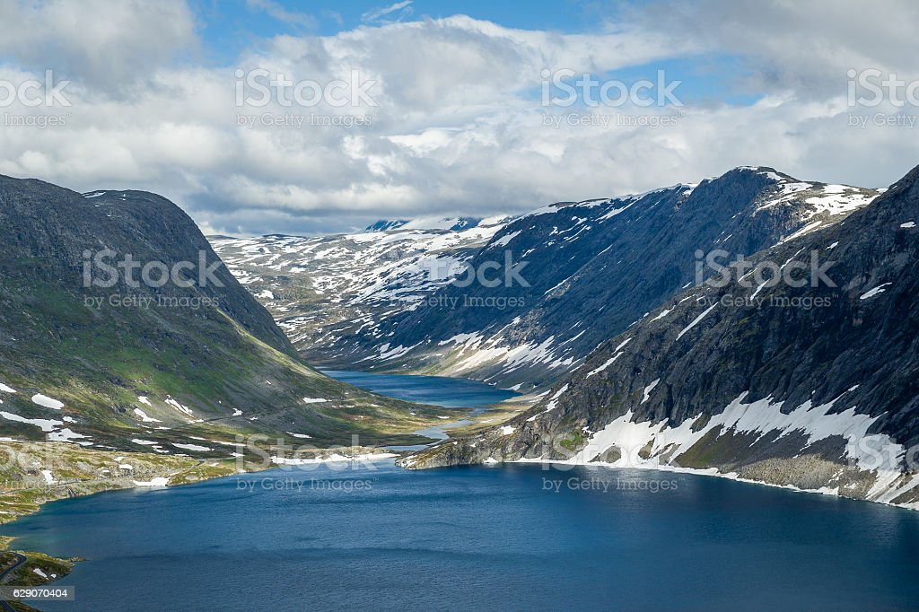 Dalsnibba scenic mountains and highland lake. stock photo
