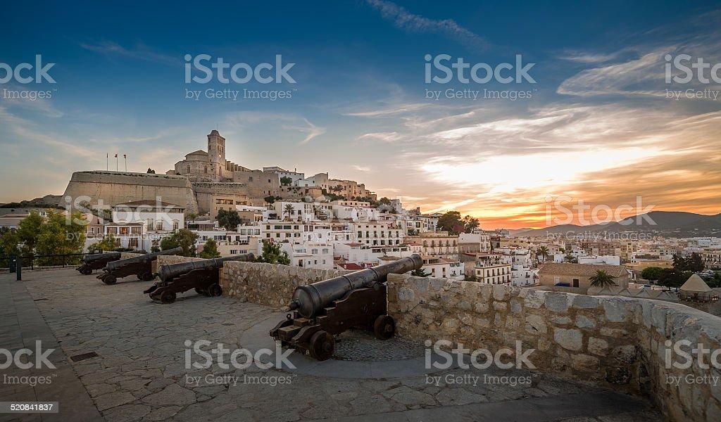 Dalt Vila fortress at sunset stock photo