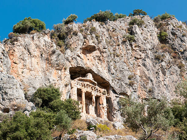 Dalyan, Turkey The Ancient Rock Tombs in Dalyan, Turkey 4th century bc stock pictures, royalty-free photos & images
