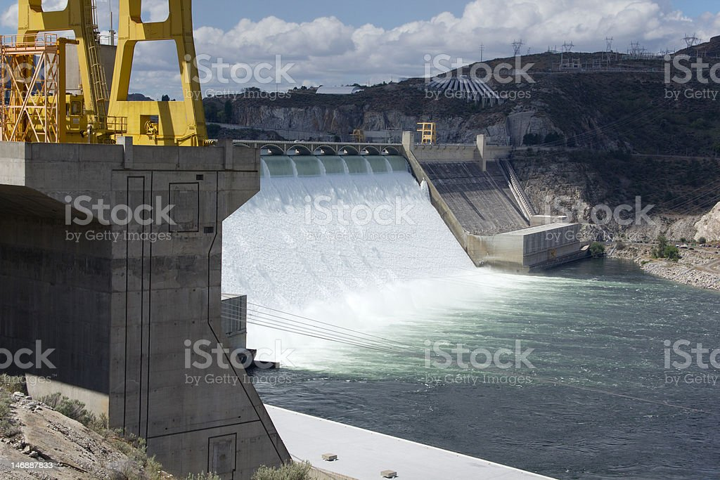 Dam at Coulee spillway & crane stock photo