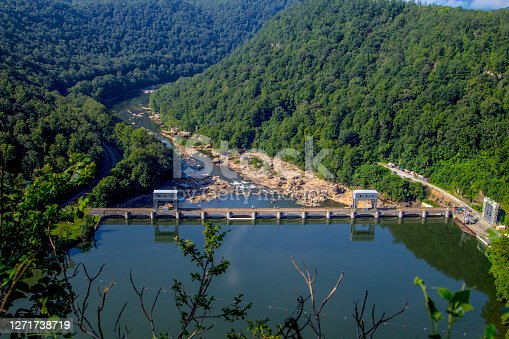 Overlook of dam on the New River with bridge at Hawks Nest State Park in West Virginia.