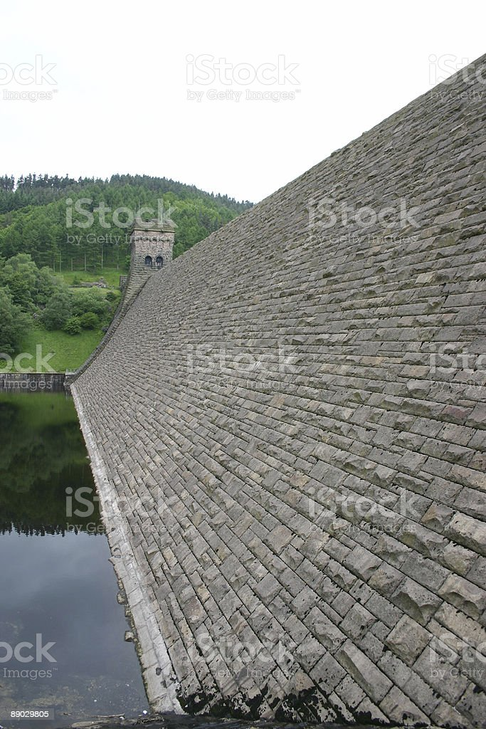 Dam at reservior royalty-free stock photo