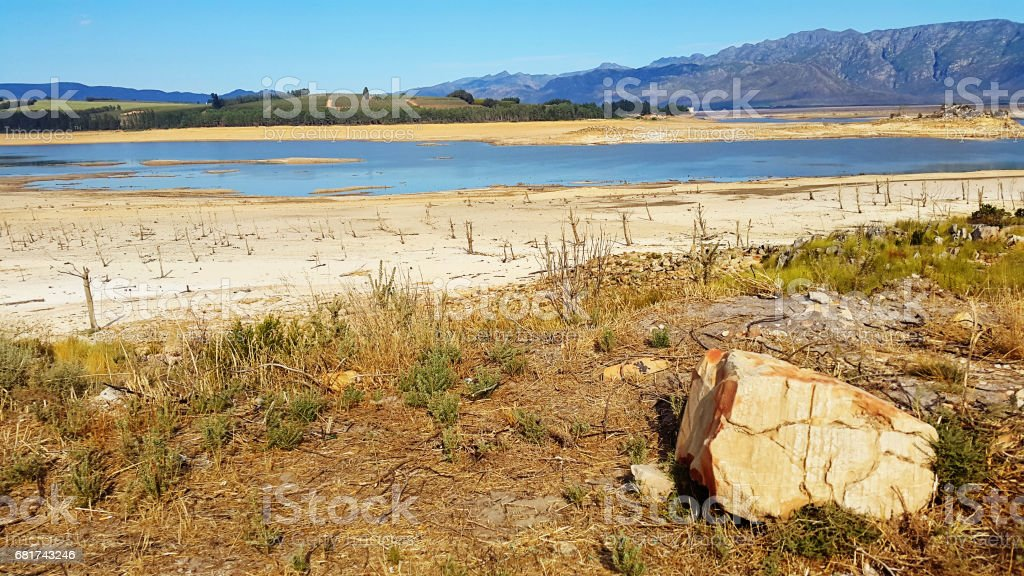 Dam during a drought stock photo