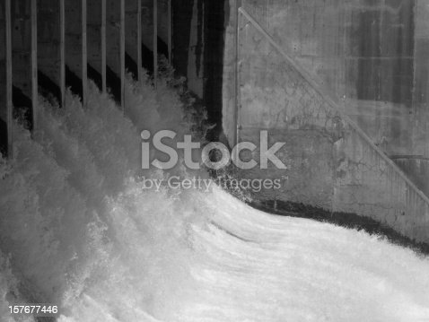 Dam water outlet.  Done in black and white.