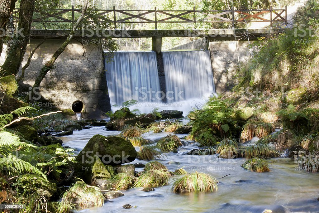 Dam in the river. royalty-free stock photo