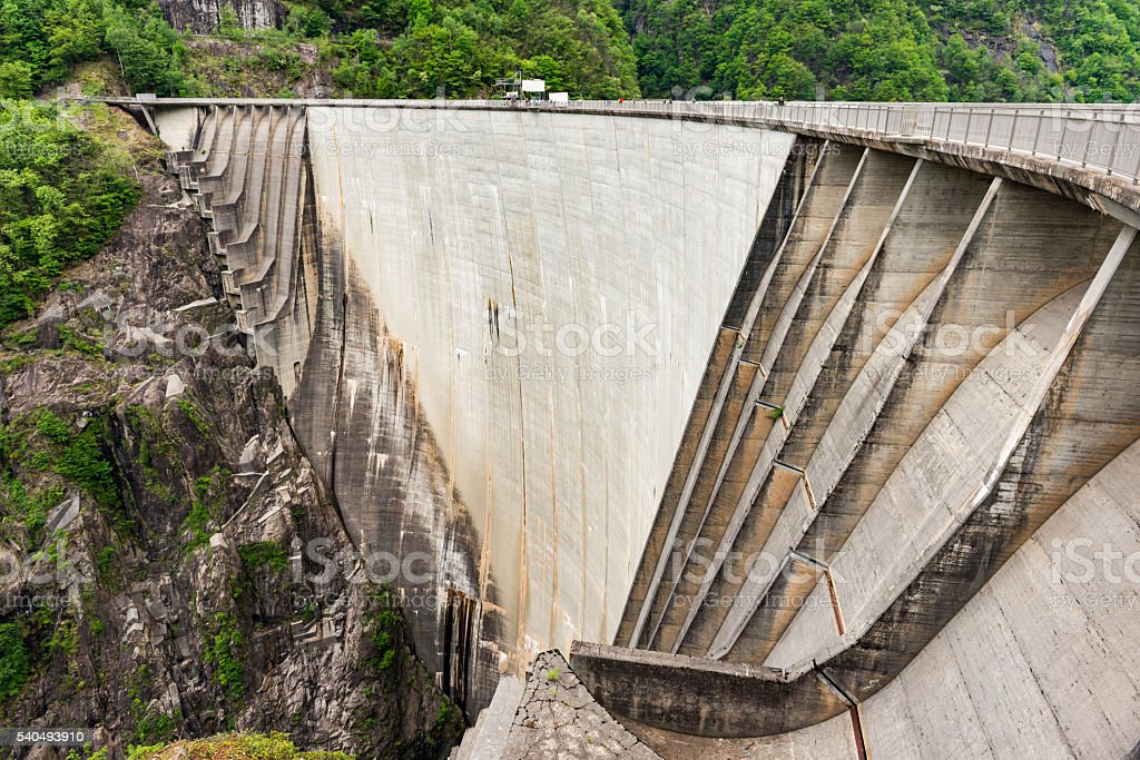 dam in valley verzasca in Switzerland stock photo