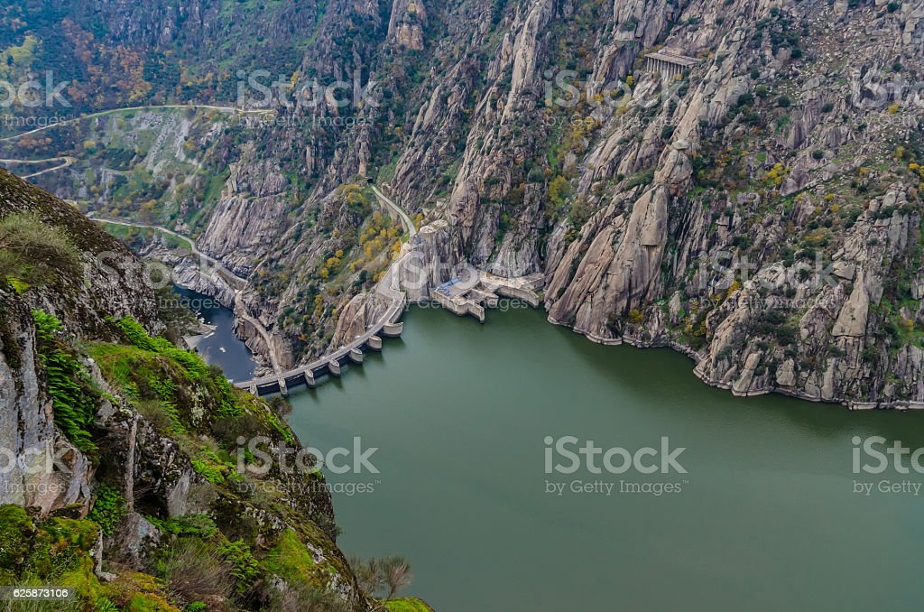 Dam international douro natural park stock photo