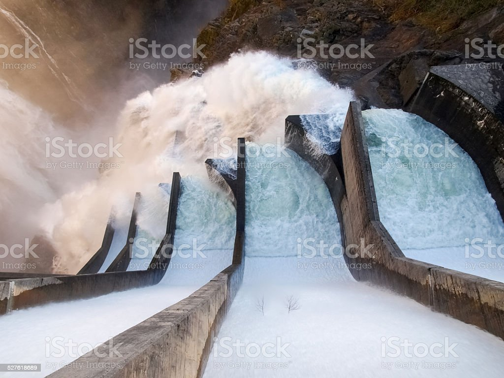 Dam of Contra Verzasca, spectacular waterfalls stock photo