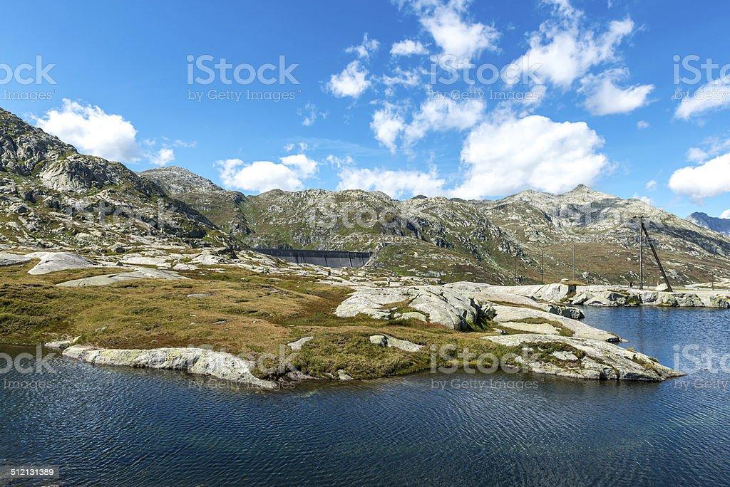 Dam of Lucendro, Gotthard Pass, Canton of Ticino (Swizerland) stock photo